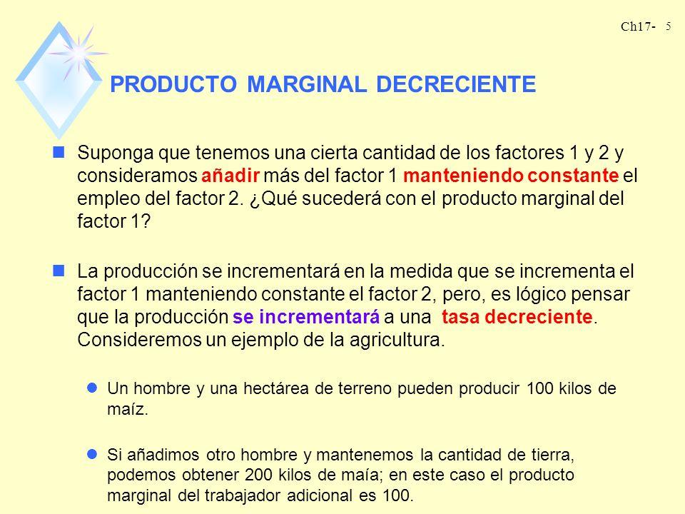Ch17- 5 PRODUCTO MARGINAL DECRECIENTE nSuponga que tenemos una cierta cantidad de los factores 1 y 2 y consideramos añadir más del factor 1 manteniend