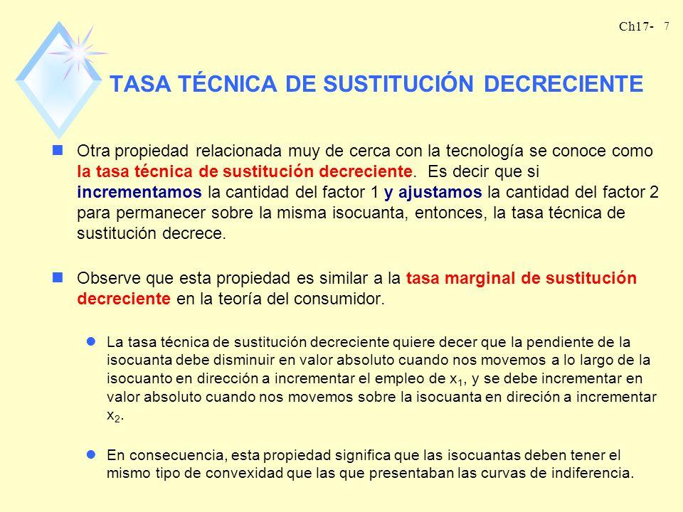 Ch17- 8 nLa propiedad de la tasa técnica de sustitución decreciente y la propiedad del producto marginal decreciente están muy relacionadas pero no son iguales.