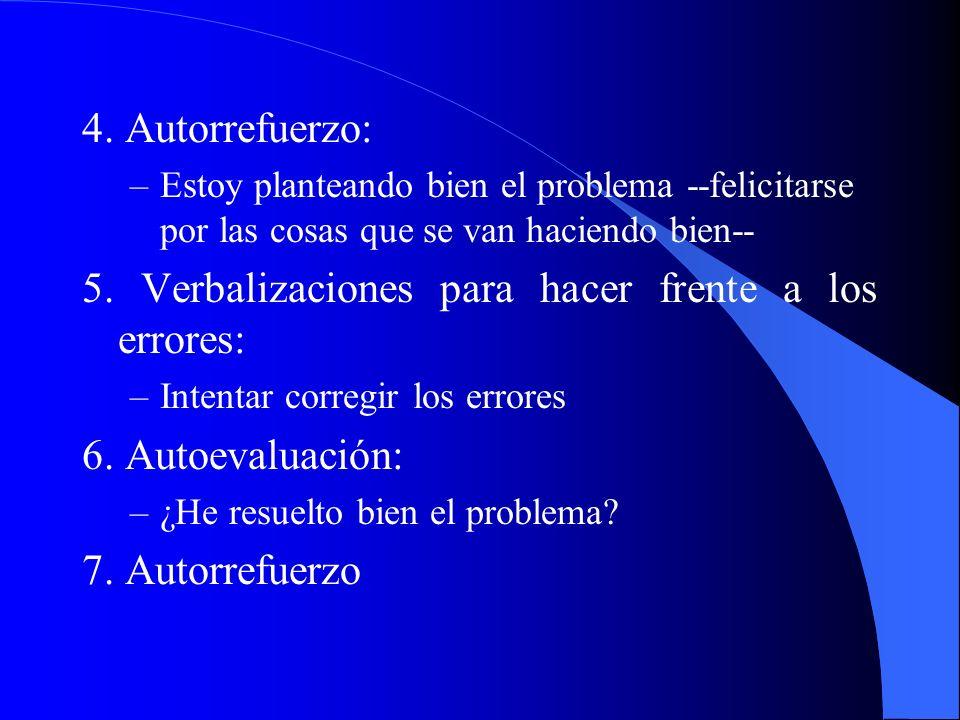 4. Autorrefuerzo: –Estoy planteando bien el problema --felicitarse por las cosas que se van haciendo bien-- 5. Verbalizaciones para hacer frente a los