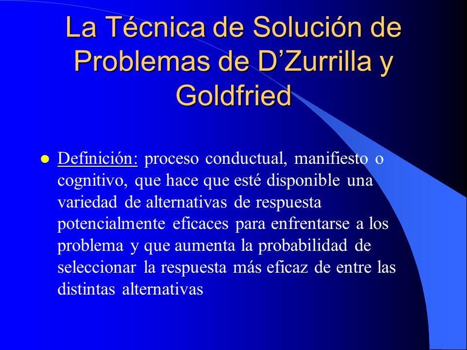 La Técnica de Solución de Problemas de DZurrilla y Goldfried l Definición: proceso conductual, manifiesto o cognitivo, que hace que esté disponible una variedad de alternativas de respuesta potencialmente eficaces para enfrentarse a los problema y que aumenta la probabilidad de seleccionar la respuesta más eficaz de entre las distintas alternativas
