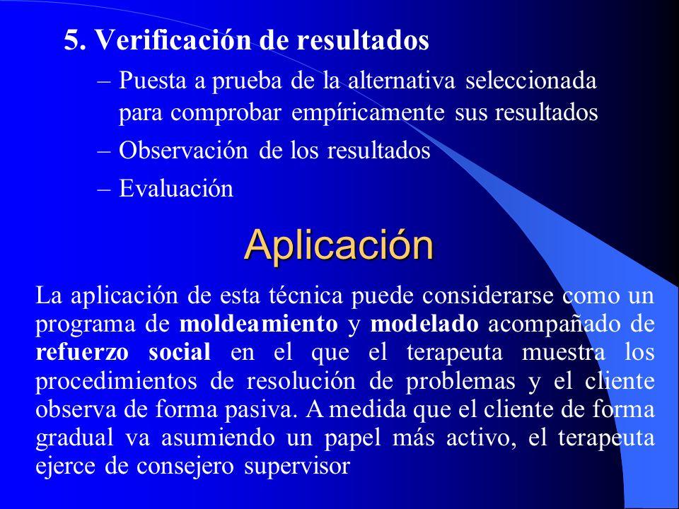 5. Verificación de resultados –Puesta a prueba de la alternativa seleccionada para comprobar empíricamente sus resultados –Observación de los resultad