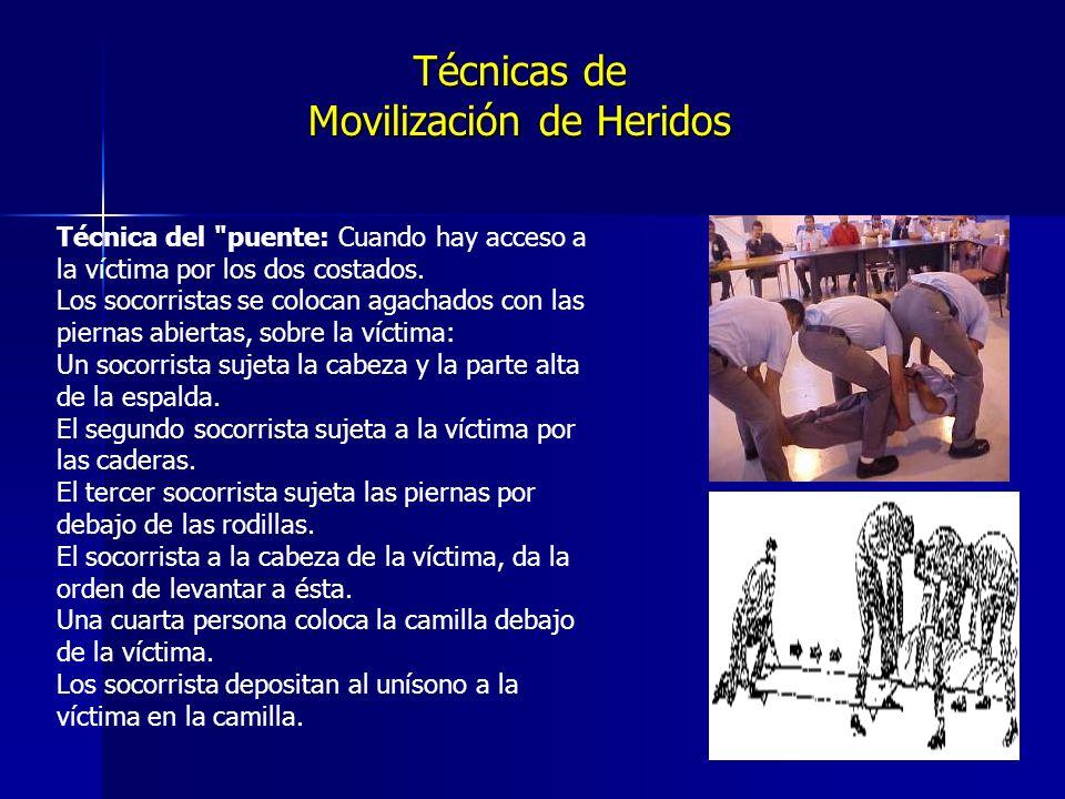 Técnicas de Movilización de Heridos Técnica del puente: Cuando hay acceso a la víctima por los dos costados.