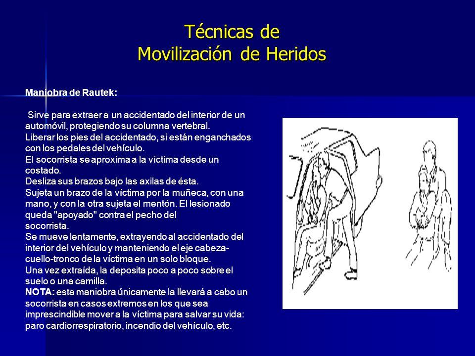 Técnicas de Movilización de Heridos Maniobra de Rautek: Sirve para extraer a un accidentado del interior de un automóvil, protegiendo su columna vertebral.