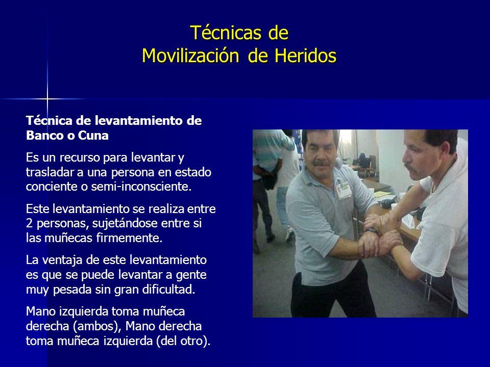 Técnicas de Movilización de Heridos Técnica de levantamiento de Banco o Cuna Es un recurso para levantar y trasladar a una persona en estado conciente o semi-inconsciente.