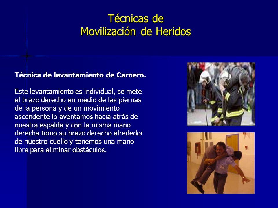 Técnicas de Movilización de Heridos Técnica de levantamiento de Carnero.