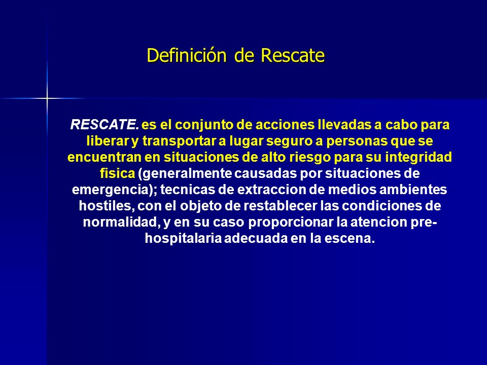 Definición de Rescate RESCATE.