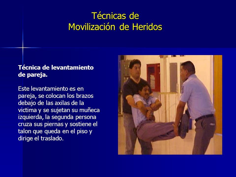 Técnicas de Movilización de Heridos Técnica de levantamiento de pareja.