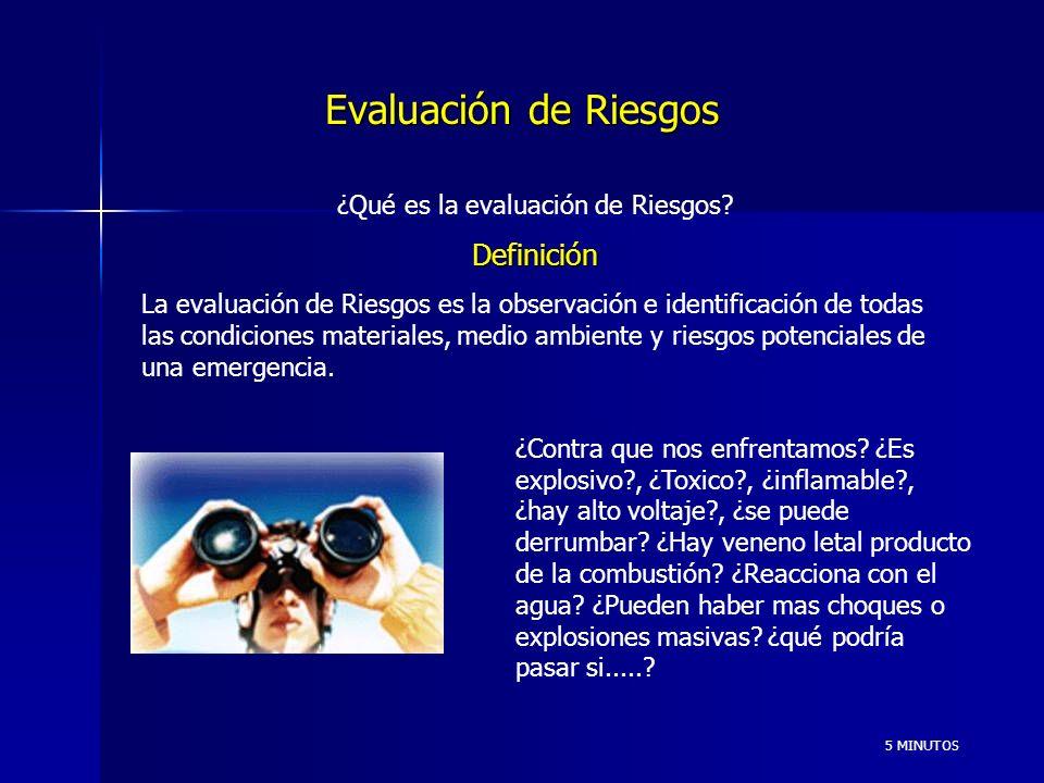 Evaluación de Riesgos 5 MINUTOS ¿Qué es la evaluación de Riesgos?Definición La evaluación de Riesgos es la observación e identificación de todas las condiciones materiales, medio ambiente y riesgos potenciales de una emergencia.