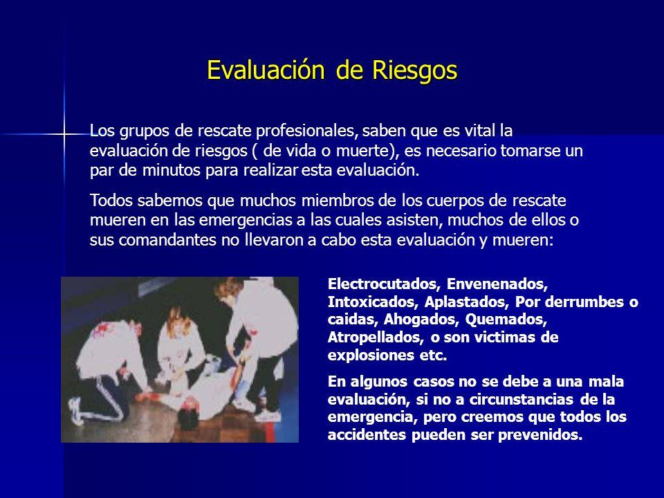 Evaluación de Riesgos Los grupos de rescate profesionales, saben que es vital la evaluación de riesgos ( de vida o muerte), es necesario tomarse un par de minutos para realizar esta evaluación.