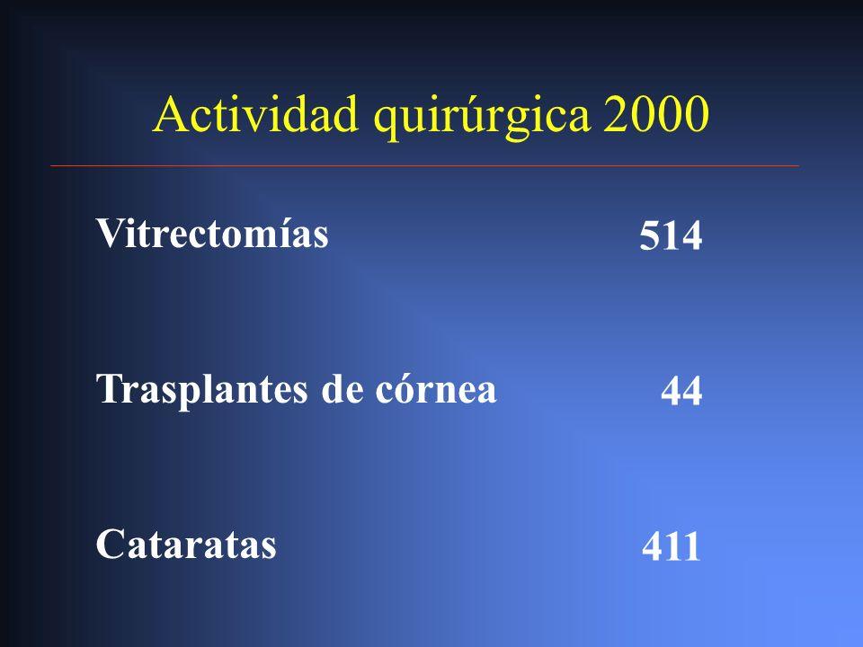 Actividad quirúrgica 2000 Vitrectomías 514 Vitrectomías 514 Trasplante de córnea 44 Trasplante de córnea 44 Cataratas 411 Cataratas 411