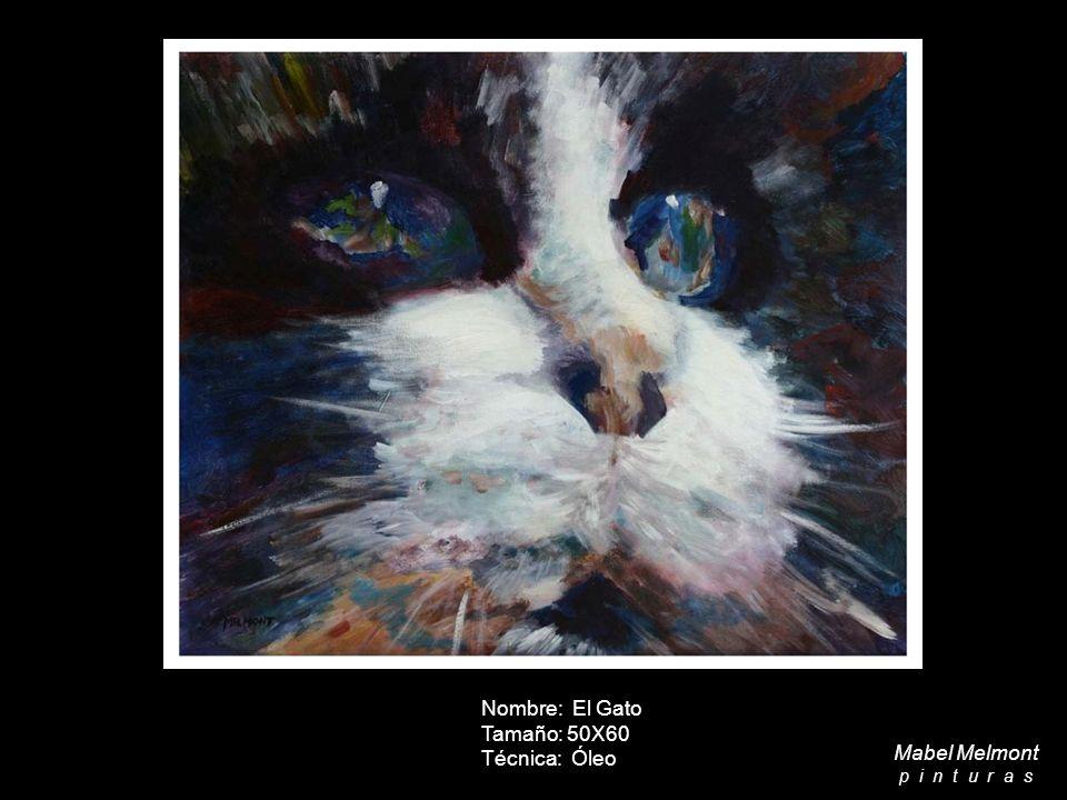 Nombre: El Gato Tamaño: 50X60 Técnica: Óleo Mabel Melmont p i n t u r a s