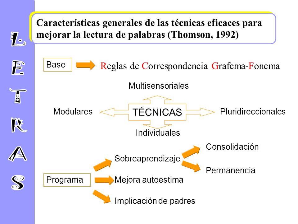 1.Las técnicas deben centrarse explícita y directamente en las RCGF, sobre todo en las fases iniciales de aprendizaje. 2.Las técnicas deben ser multis