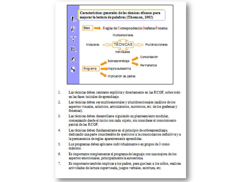 Multisensoriales TÉCNICAS Individuales ModularesPluridireccionales Programa Sobreaprendizaje Consolidación Permanencia Mejora autoestima Implicación d