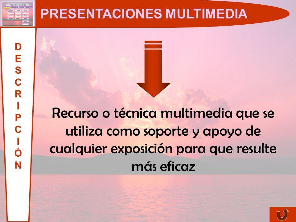 PRESENTACIONES MULTIMEDIA DESCRIPCIÓNDESCRIPCIÓN Recurso o técnica multimedia que se utiliza como soporte y apoyo de cualquier exposición para que resulte más eficaz