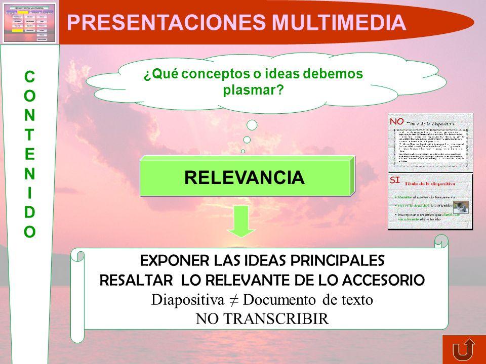 Complementan y ayudan a comprender el contenido Equilibrio texto-imágenes (no sobrecargar la diapositiva) Evitar distractores COLORESTEXTO IMÁGENES SONIDOS PRESENTACIONES MULTIMEDIA ELEMENTOSELEMENTOS ENLACES