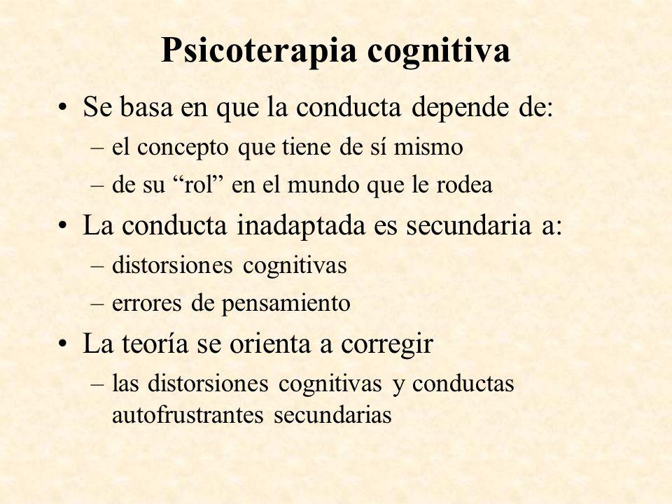 Psicoterapia cognitiva Se basa en que la conducta depende de: –el concepto que tiene de sí mismo –de su rol en el mundo que le rodea La conducta inada