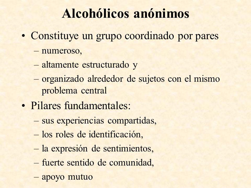 Alcohólicos anónimos Constituye un grupo coordinado por pares –numeroso, –altamente estructurado y –organizado alrededor de sujetos con el mismo probl