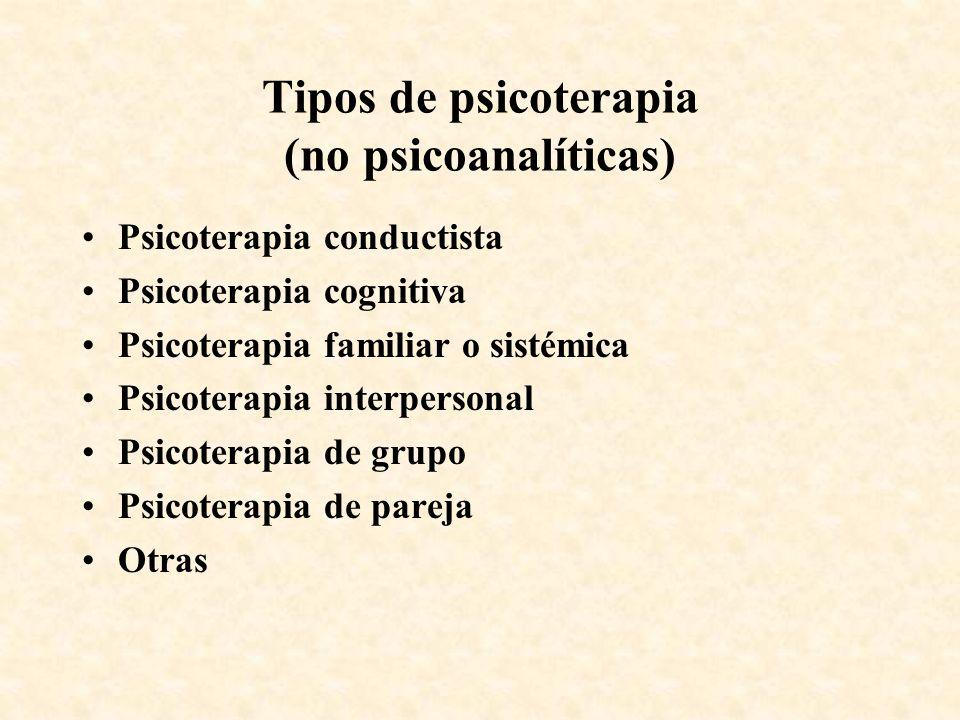 Tipos de psicoterapia (no psicoanalíticas) Psicoterapia conductista Psicoterapia cognitiva Psicoterapia familiar o sistémica Psicoterapia interpersona