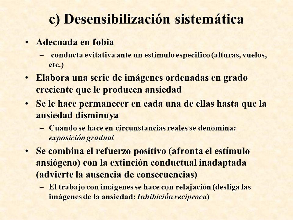 c) Desensibilización sistemática Adecuada en fobia – conducta evitativa ante un estimulo especifico (alturas, vuelos, etc.) Elabora una serie de imáge