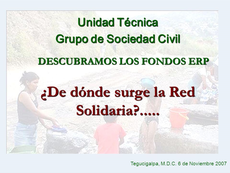DESCUBRAMOS LOS FONDOS ERP Tegucigalpa, M.D.C. 6 de Noviembre 2007 Unidad Técnica Grupo de Sociedad Civil ¿De dónde surge la Red Solidaria?.....