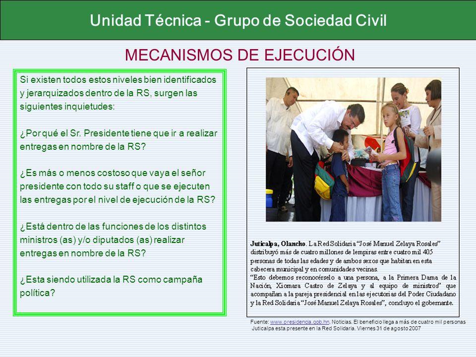 MECANISMOS DE EJECUCIÓN Unidad Técnica - Grupo de Sociedad Civil Si existen todos estos niveles bien identificados y jerarquizados dentro de la RS, su