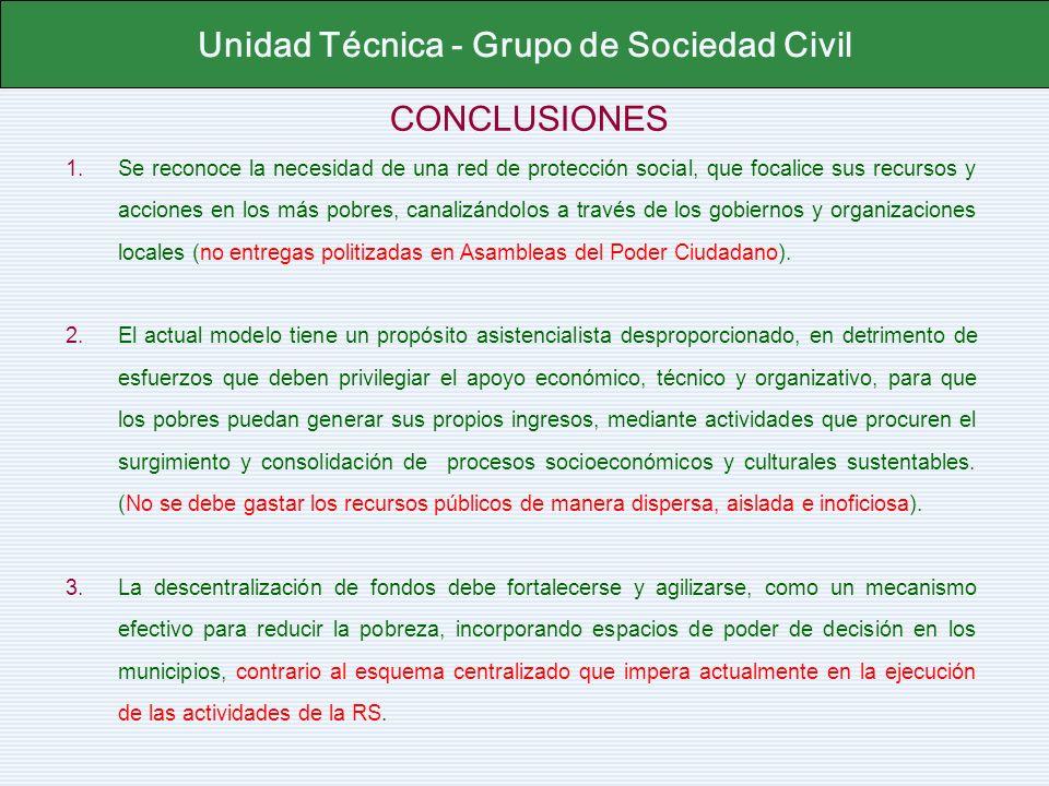 CONCLUSIONES Unidad Técnica - Grupo de Sociedad Civil 1.Se reconoce la necesidad de una red de protección social, que focalice sus recursos y acciones