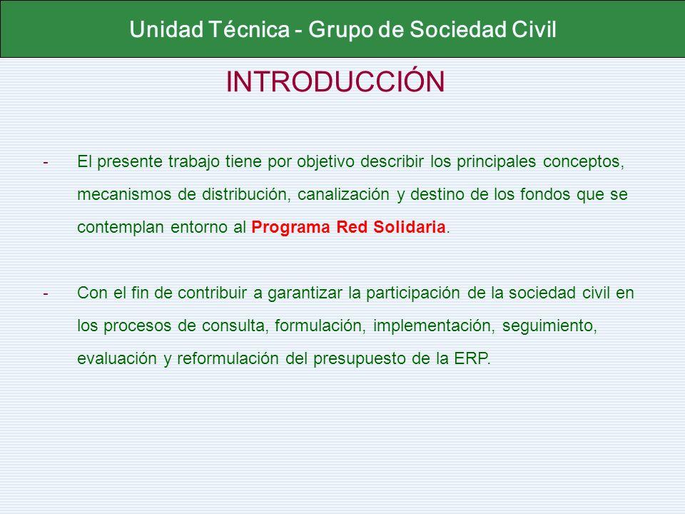INTRODUCCIÓN Unidad Técnica - Grupo de Sociedad Civil - El presente trabajo tiene por objetivo describir los principales conceptos, mecanismos de dist