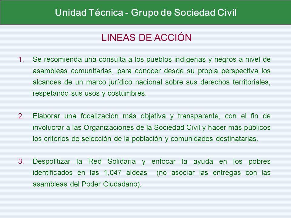 LINEAS DE ACCIÓN Unidad Técnica - Grupo de Sociedad Civil 1.Se recomienda una consulta a los pueblos indígenas y negros a nivel de asambleas comunitar