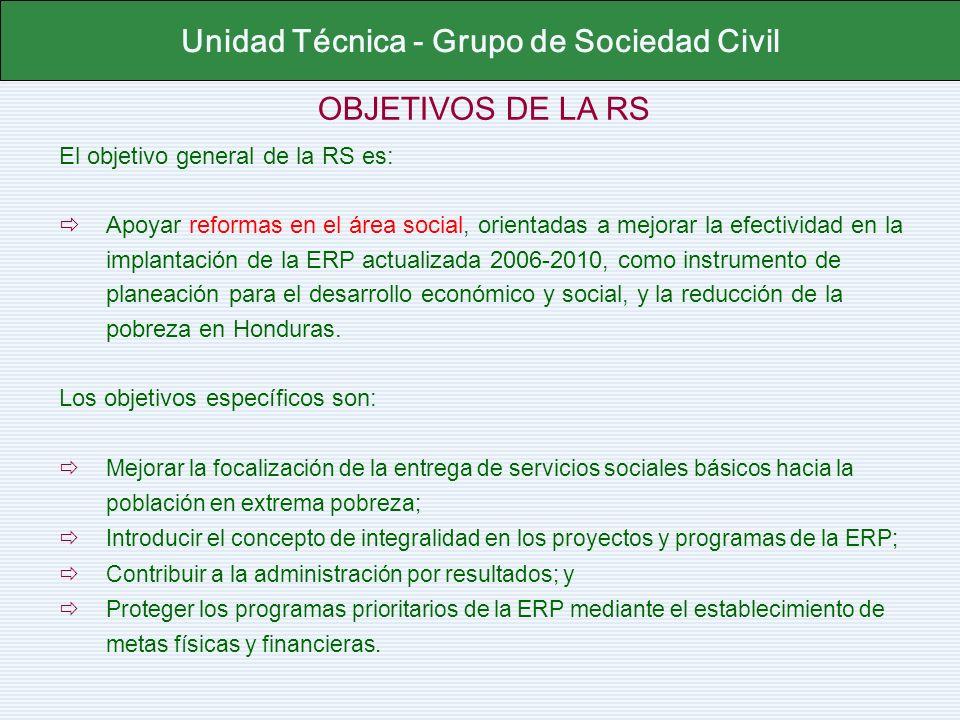OBJETIVOS DE LA RS El objetivo general de la RS es: Apoyar reformas en el área social, orientadas a mejorar la efectividad en la implantación de la ER