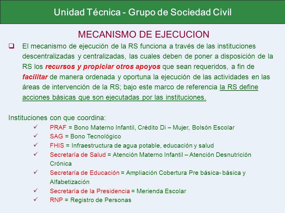MECANISMO DE EJECUCION El mecanismo de ejecución de la RS funciona a través de las instituciones descentralizadas y centralizadas, las cuales deben de