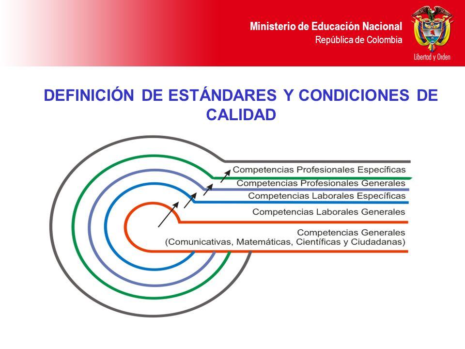 DEFINICIÓN DE ESTÁNDARES Y CONDICIONES DE CALIDAD