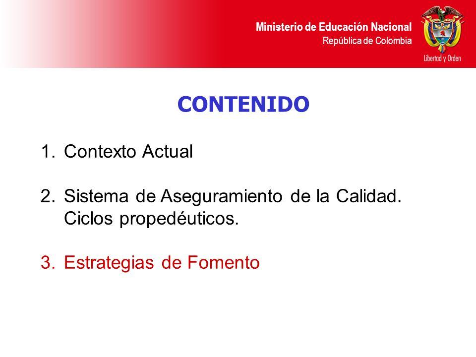 Ministerio de Educación Nacional República de Colombia CONTENIDO 1.Contexto Actual 2. Sistema de Aseguramiento de la Calidad. Ciclos propedéuticos. 3.