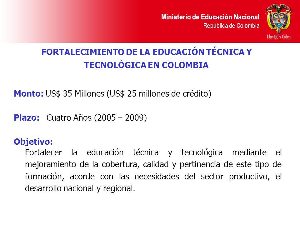 Ministerio de Educación Nacional República de Colombia Monto: US$ 35 Millones (US$ 25 millones de crédito) Plazo: Cuatro Años (2005 – 2009) Objetivo: