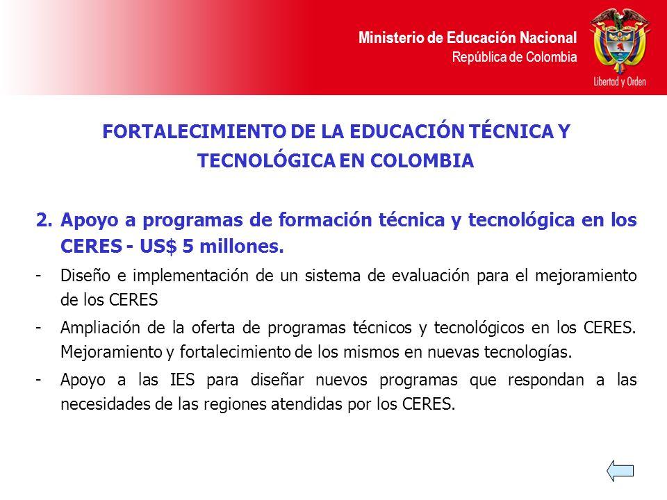 Ministerio de Educación Nacional República de Colombia 2.Apoyo a programas de formación técnica y tecnológica en los CERES - US$ 5 millones. -Diseño e
