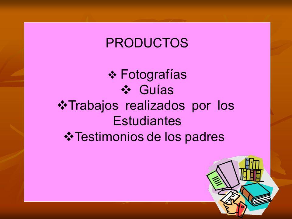 PRODUCTOS Fotografías Guías Trabajos realizados por los Estudiantes Testimonios de los padres
