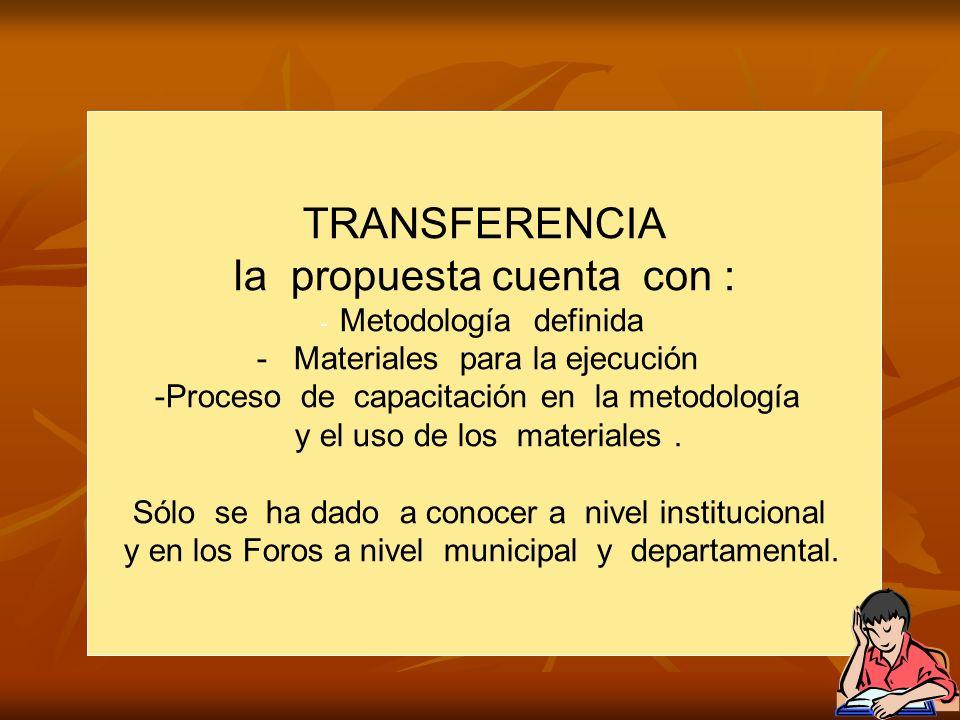 TRANSFERENCIA la propuesta cuenta con : - Metodología definida - Materiales para la ejecución -Proceso de capacitación en la metodología y el uso de los materiales.