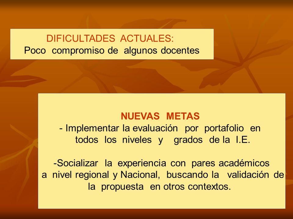 DIFICULTADES ACTUALES: Poco compromiso de algunos docentes NUEVAS METAS - Implementar la evaluación por portafolio en todos los niveles y grados de la I.E.
