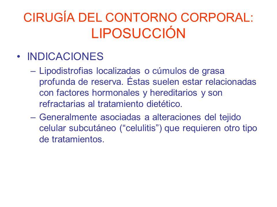 CIRUGÍA DEL CONTORNO CORPORAL: LIPOSUCCIÓN INDICACIONES –Lipodistrofias localizadas o cúmulos de grasa profunda de reserva. Éstas suelen estar relacio