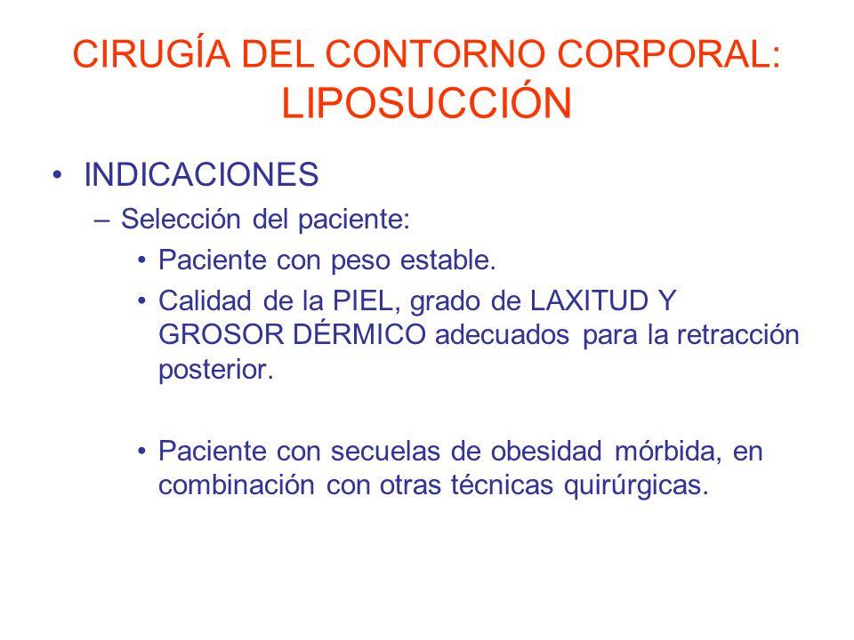 CIRUGÍA DEL CONTORNO CORPORAL: LIPOSUCCIÓN INDICACIONES –Selección del paciente: Paciente con peso estable. Calidad de la PIEL, grado de LAXITUD Y GRO