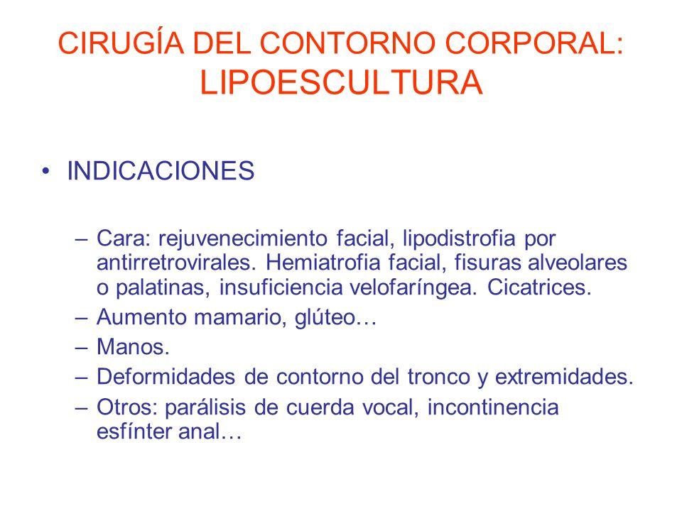 CIRUGÍA DEL CONTORNO CORPORAL: LIPOESCULTURA INDICACIONES –Cara: rejuvenecimiento facial, lipodistrofia por antirretrovirales. Hemiatrofia facial, fis