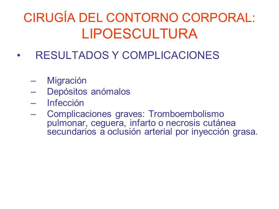 CIRUGÍA DEL CONTORNO CORPORAL: LIPOESCULTURA RESULTADOS Y COMPLICACIONES –Migración –Depósitos anómalos –Infección –Complicaciones graves: Tromboembol