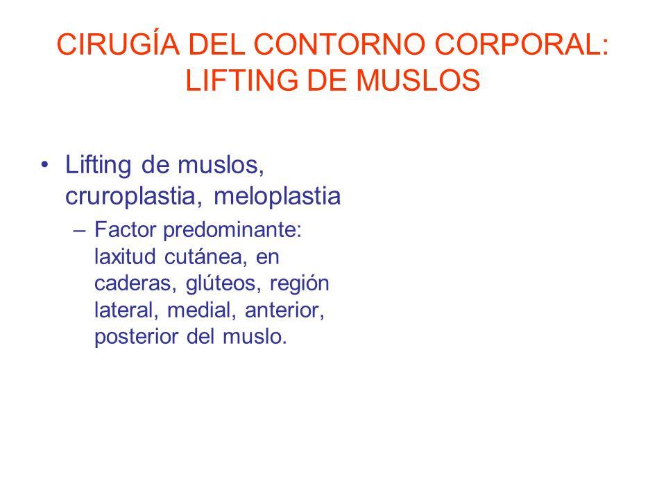 CIRUGÍA DEL CONTORNO CORPORAL: LIFTING DE MUSLOS Lifting de muslos, cruroplastia, meloplastia –Factor predominante: laxitud cutánea, en caderas, glúte