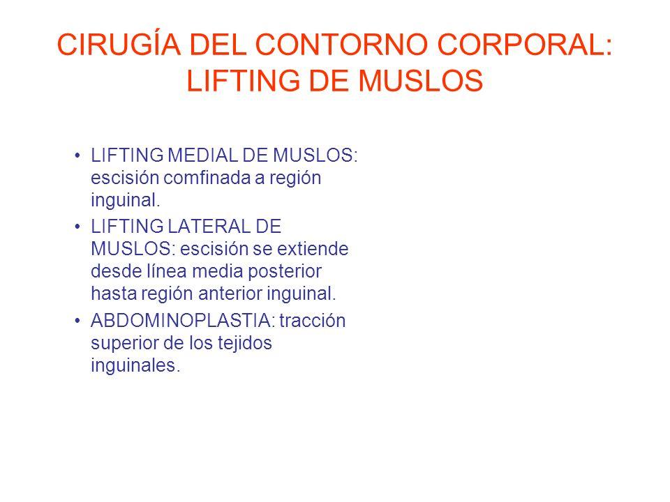 CIRUGÍA DEL CONTORNO CORPORAL: LIFTING DE MUSLOS LIFTING MEDIAL DE MUSLOS: escisión comfinada a región inguinal. LIFTING LATERAL DE MUSLOS: escisión s