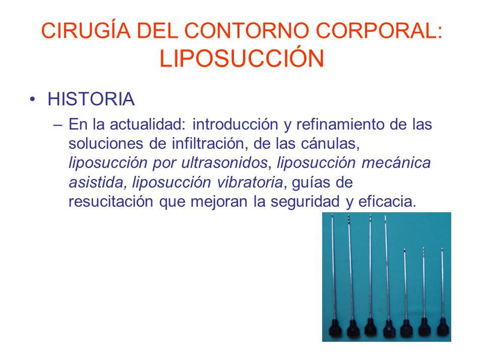 CIRUGÍA DEL CONTORNO CORPORAL: LIPOSUCCIÓN HISTORIA –En la actualidad: introducción y refinamiento de las soluciones de infiltración, de las cánulas,