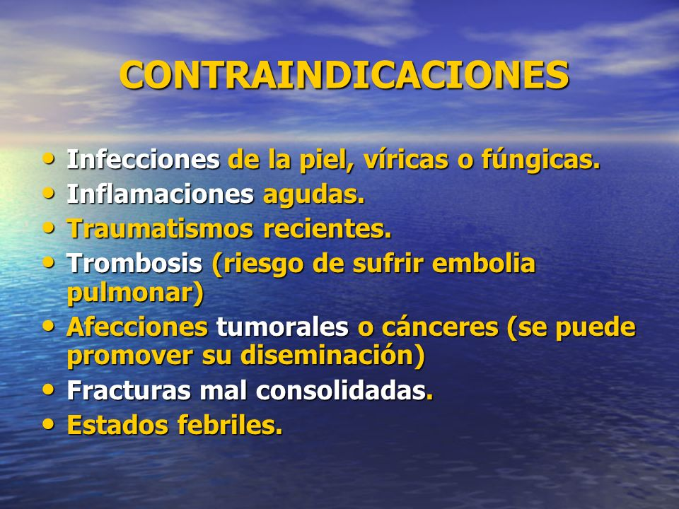 CONTRAINDICACIONES CONTRAINDICACIONES Infecciones de la piel, víricas o fúngicas. Infecciones de la piel, víricas o fúngicas. Inflamaciones agudas. In