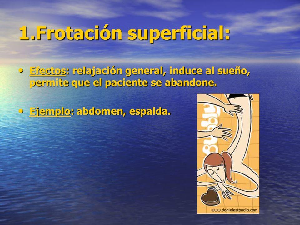1.Frotación superficial: Efectos: relajación general, induce al sueño, permite que el paciente se abandone. Efectos: relajación general, induce al sue