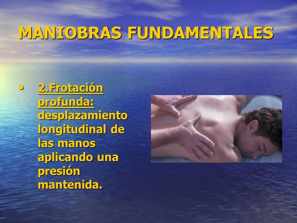 MANIOBRAS FUNDAMENTALES 2.Frotación profunda: desplazamiento longitudinal de las manos aplicando una presión mantenida. 2.Frotación profunda: desplaza