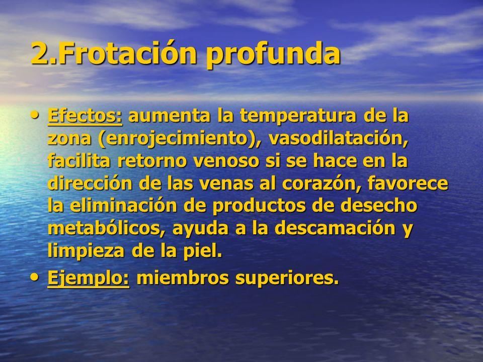 2.Frotación profunda Efectos: aumenta la temperatura de la zona (enrojecimiento), vasodilatación, facilita retorno venoso si se hace en la dirección d