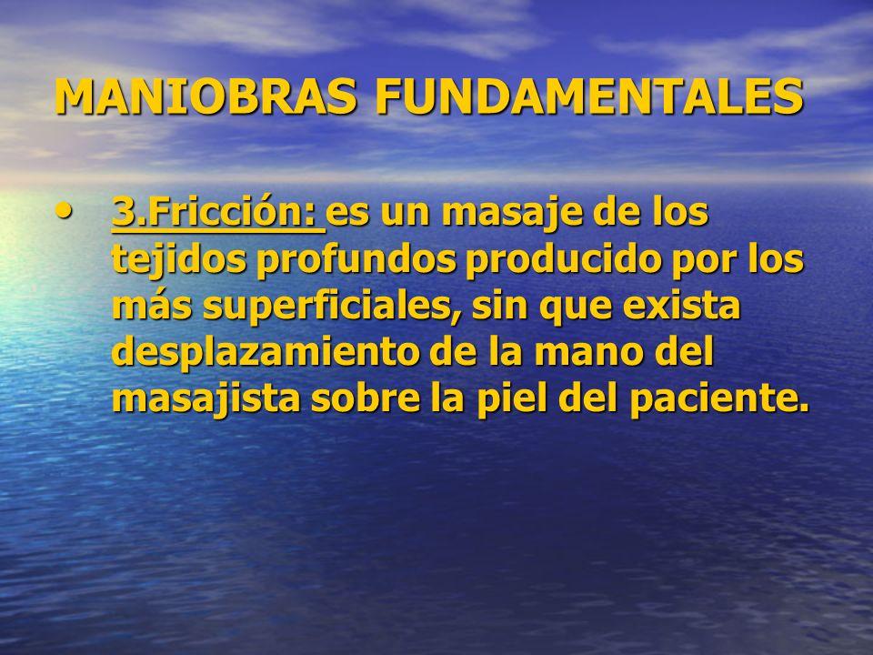 MANIOBRAS FUNDAMENTALES 3.Fricción: es un masaje de los tejidos profundos producido por los más superficiales, sin que exista desplazamiento de la man