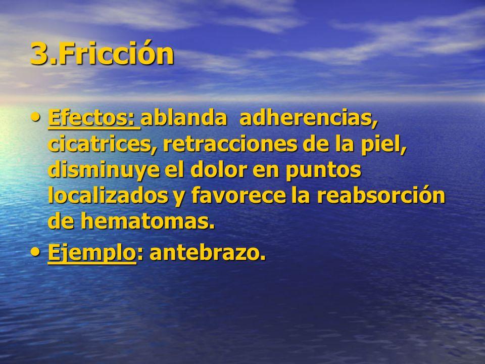 3.Fricción Efectos: ablanda adherencias, cicatrices, retracciones de la piel, disminuye el dolor en puntos localizados y favorece la reabsorción de he